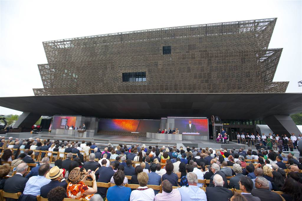 The crowd at the opening of the Smithsonian Museum of African American History and Culture.