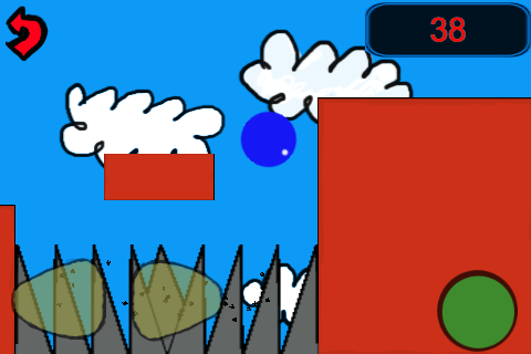 1. The player could control their ball using the left and right arrows on the screen. They could jump using the green button.
