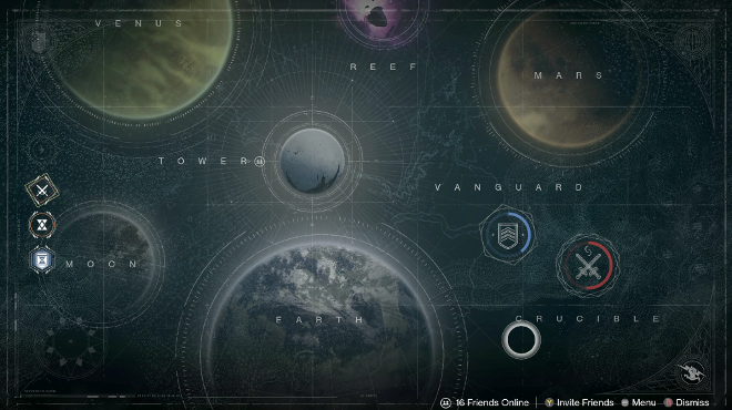 We can see here the Crucible and Vanguard marks are shown via the red and blue circles going around the locations named Vanguard and Crucible