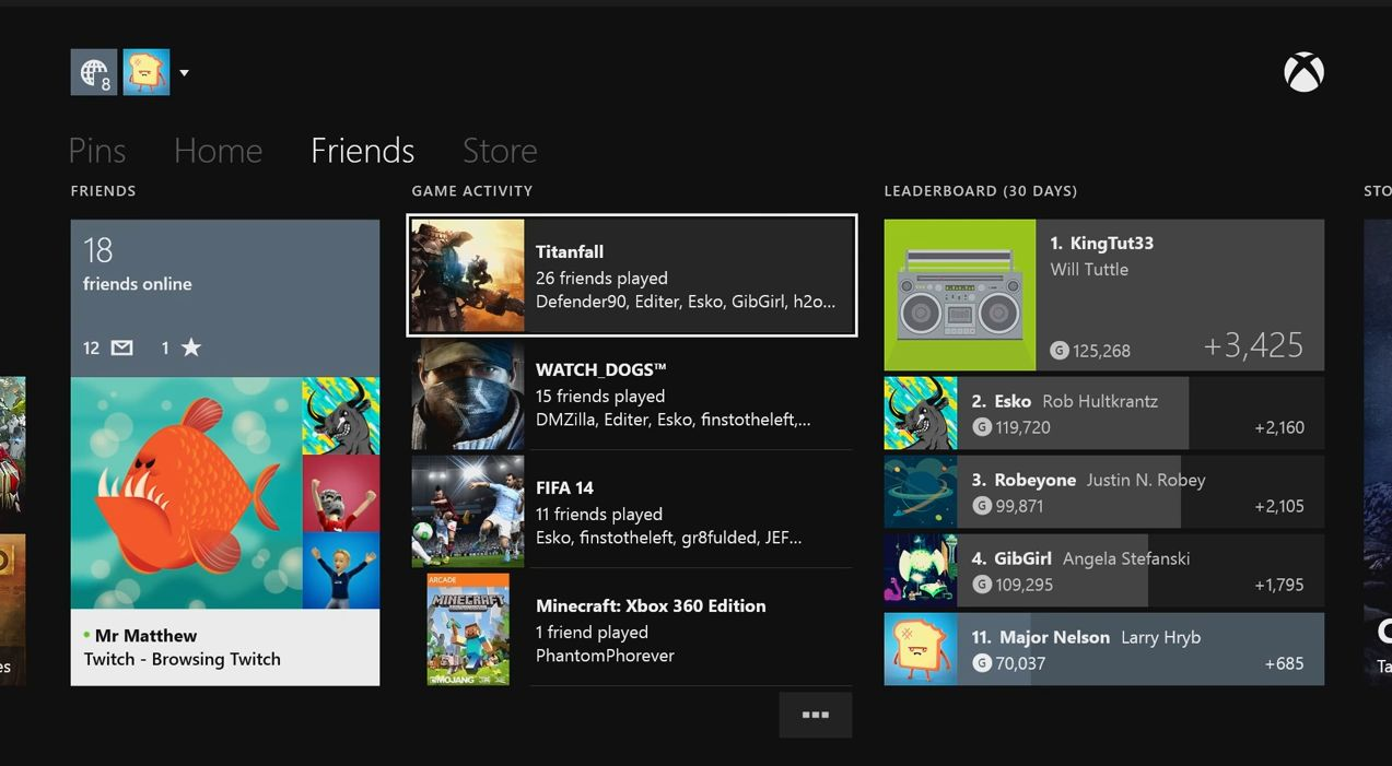 Here we can see Major Nelson is currently not doing so well at 11th place amongst his friends. It shows each player's current gamerscore as well as how much it has changed in the last 30 days.