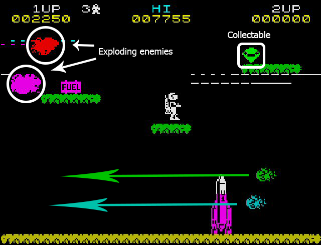 As we can see here in the first level the enemy explosions match the color of the enemies destroyed. We have a collectible which the player can retrieve for additional points. The Fuel has fallen and is now resting waiting for the player to retrieve it. And we have two enemies flying across the bottom of the screen.