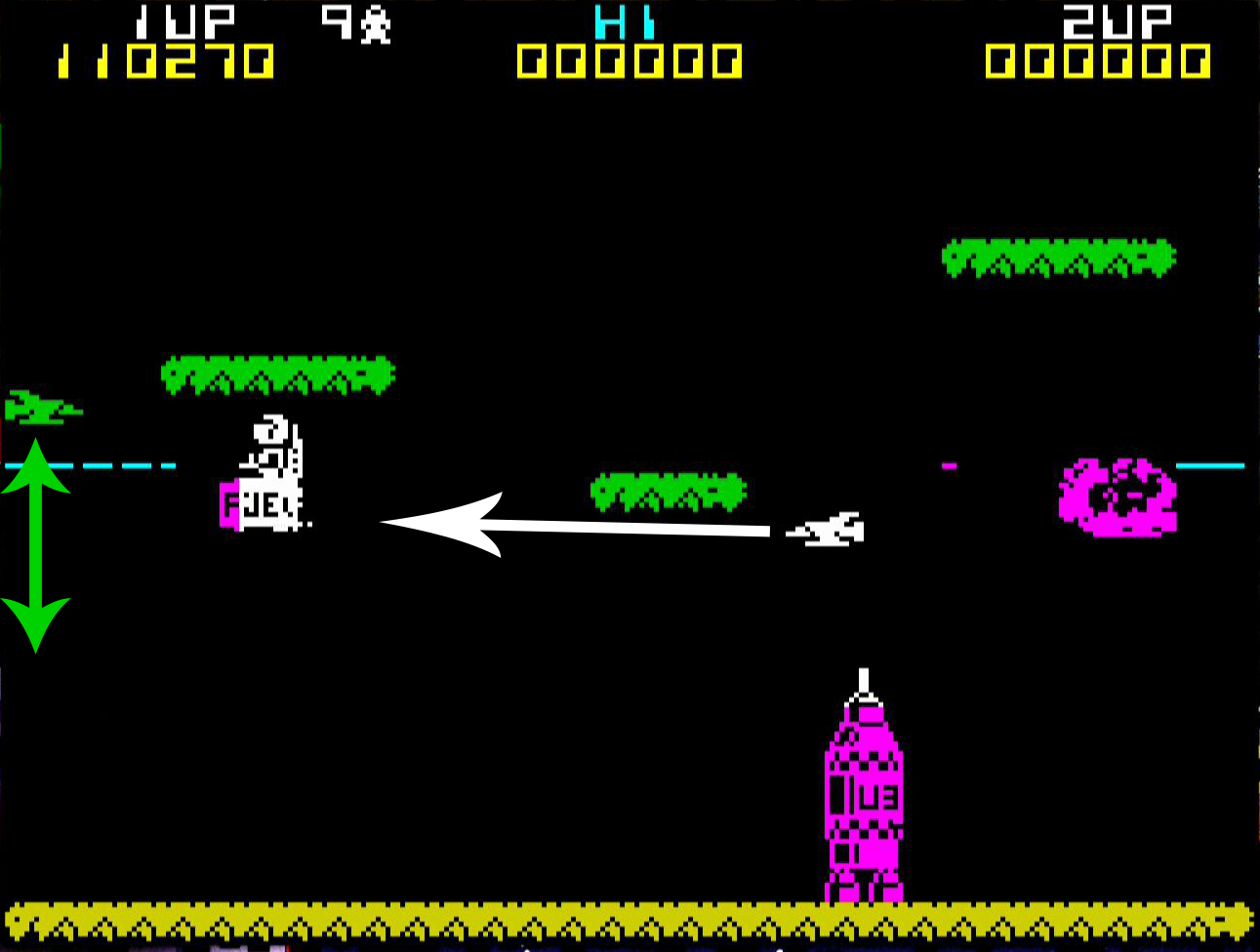 In later levels we have enemies which will seek the player. These jet like enemies will travel up and down the sides of the screen a couple of times. Then turn white and charge at the player. If they hit something on the way they explode. The predictable movement of all the enemies makes the game considerably less frustrating.