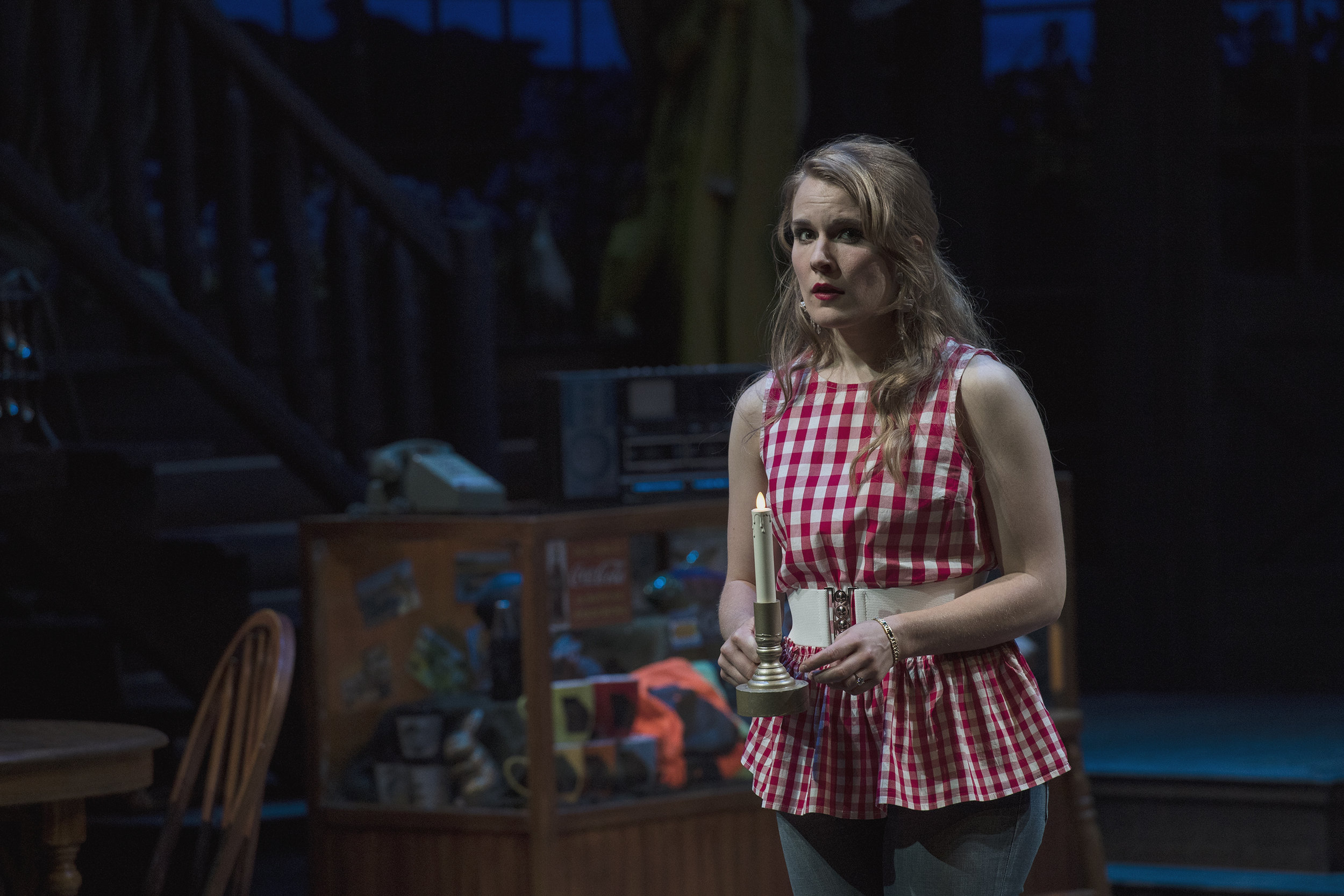 Katie Fay Francis as Catherine Simms inthe Utah Shakespeare Festival's 2018 production of  The Foreigner.  (Photo by Karl Hugh. Copyright Utah Shakespeare Festival 2018.)
