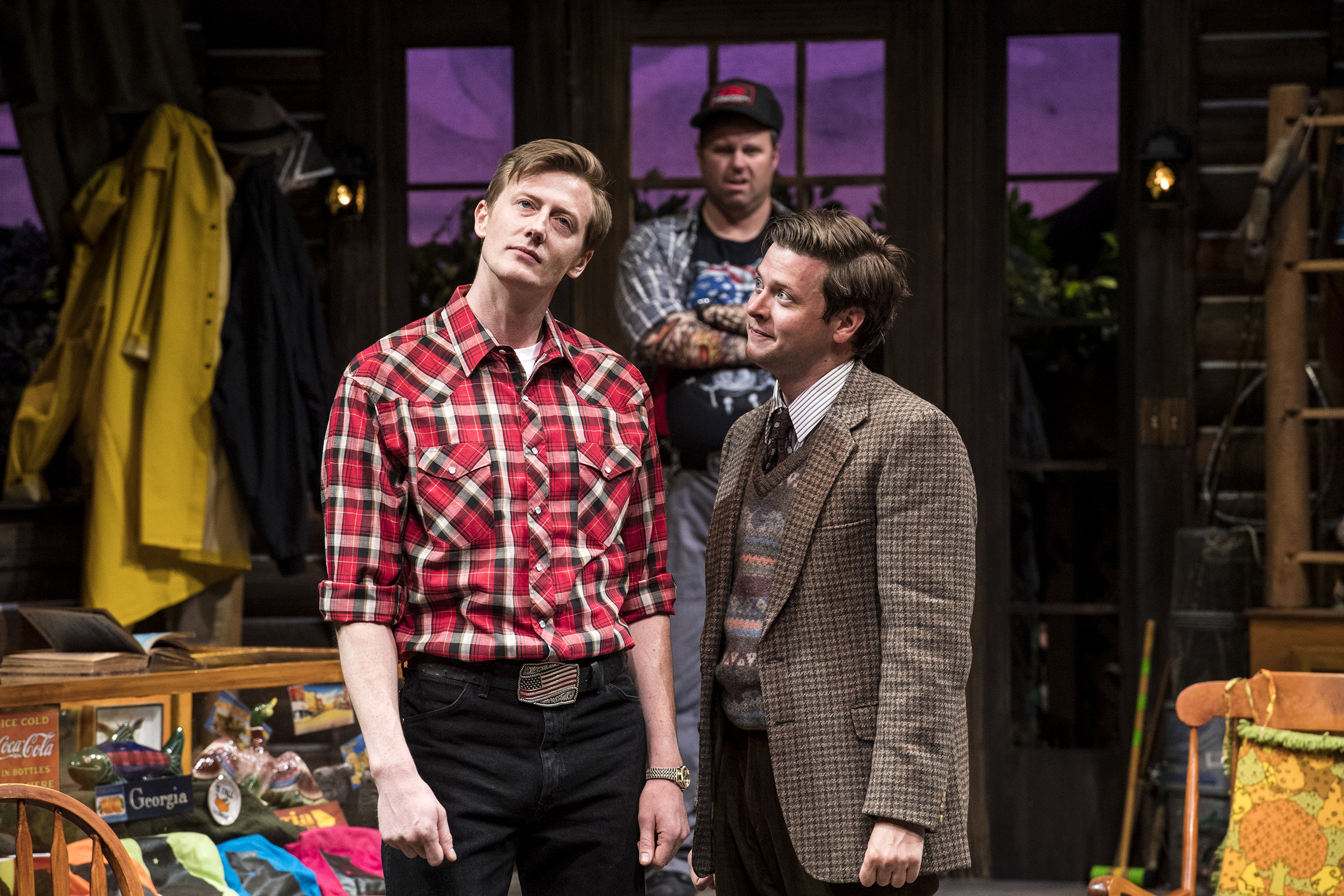 Josh Jeffers (left) as Rev. David Marshall Lee, Russ Benton as Owen  Musser, and Michael Doherty as Charlie Baker in the Utah Shakespeare  Festival's 2018 production of  The Foreigner.  (Photo by Karl Hugh. Copyright Utah Shakespeare Festival 2018.)