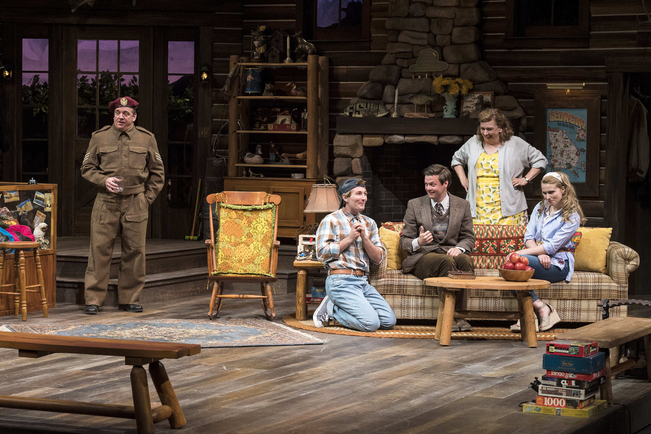 "Chris Mixon (left) as S/Sgt. ""Froggy"" LeSueur, Rob Riordan as Ellard  Simms, Michael Doherty as Charlie Baker, Colleen Baum as Betty Meeks,  and Katie Fay Francis as Catherine Simms inthe Utah Shakespeare  Festival's 2018 production of  The Foreigner.  (Photo by Karl Hugh. Copyright Utah Shakespeare Festival 2018.)"