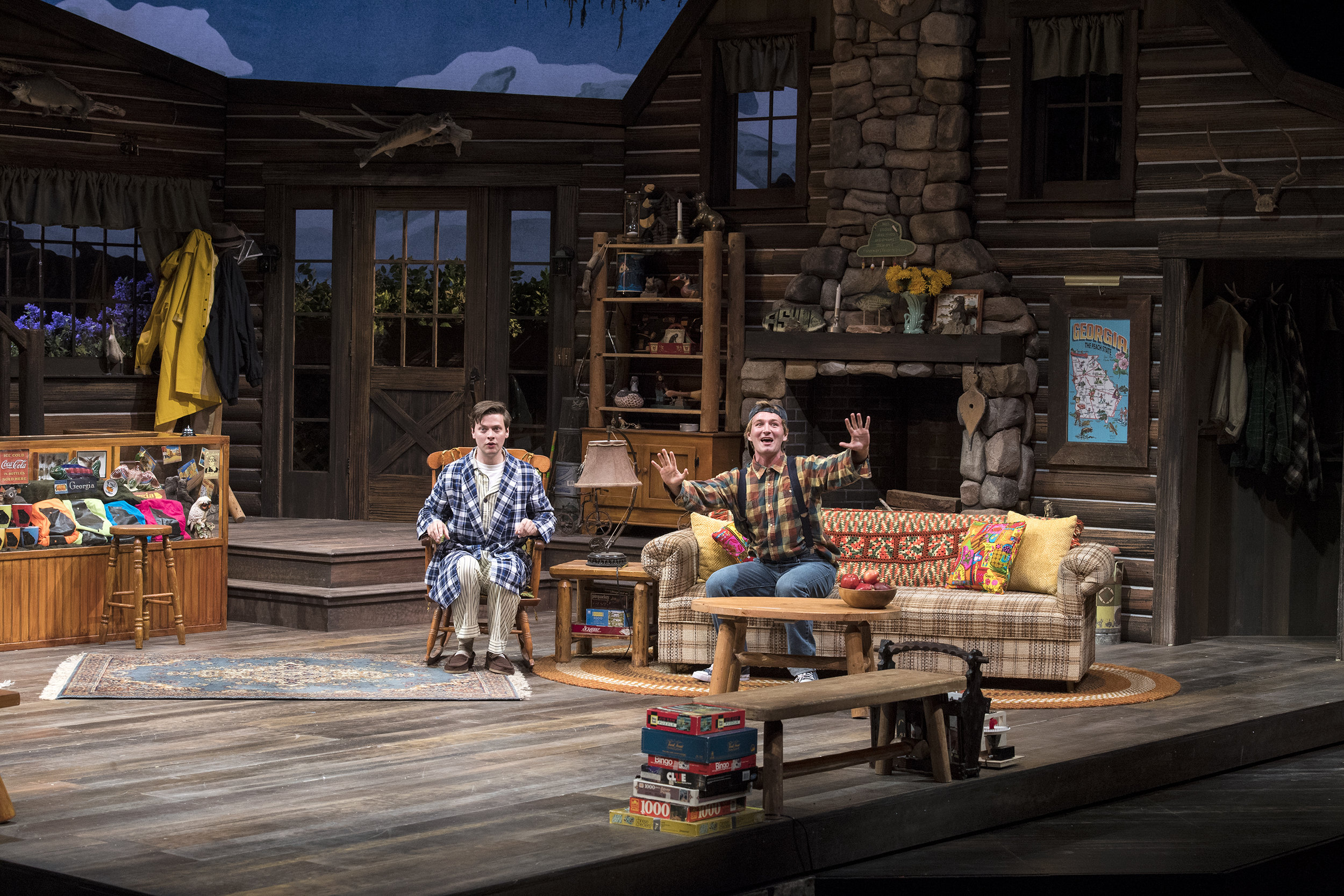 Michael Doherty (left) as Charlie Baker and Rob Riordan as Ellard Simms in the Utah Shakespeare Festival's 2018 production of  The Foreigner.  (Photo by Karl Hugh. Copyright Utah Shakespeare Festival 2018.)