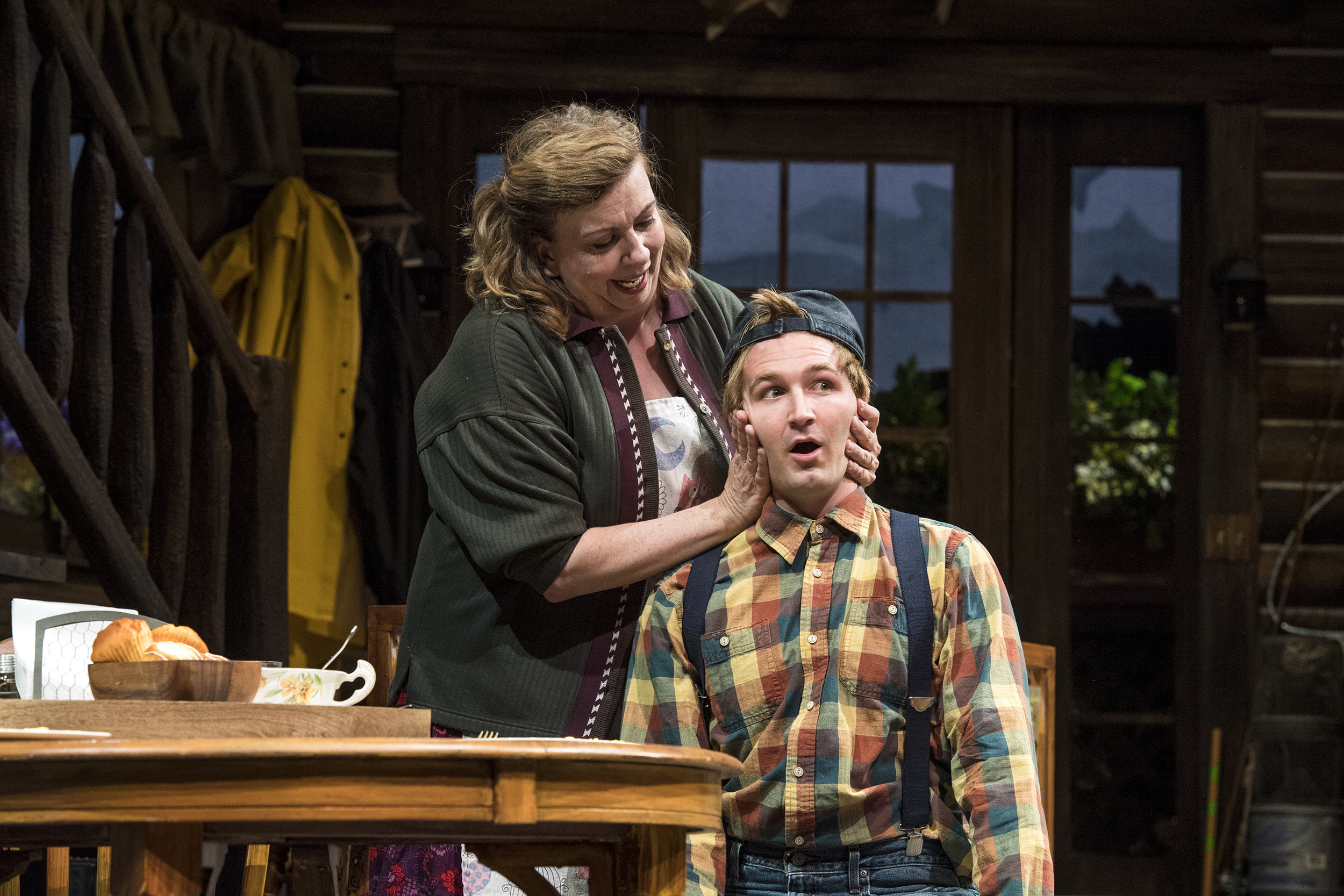 Colleen Baum (left) as Betty Meeks and Rob Riordan as Ellard Simms in the Utah Shakespeare Festival's 2018 production of  The Foreigner.  (Photo by Karl Hugh. Copyright Utah Shakespeare Festival 2018.)