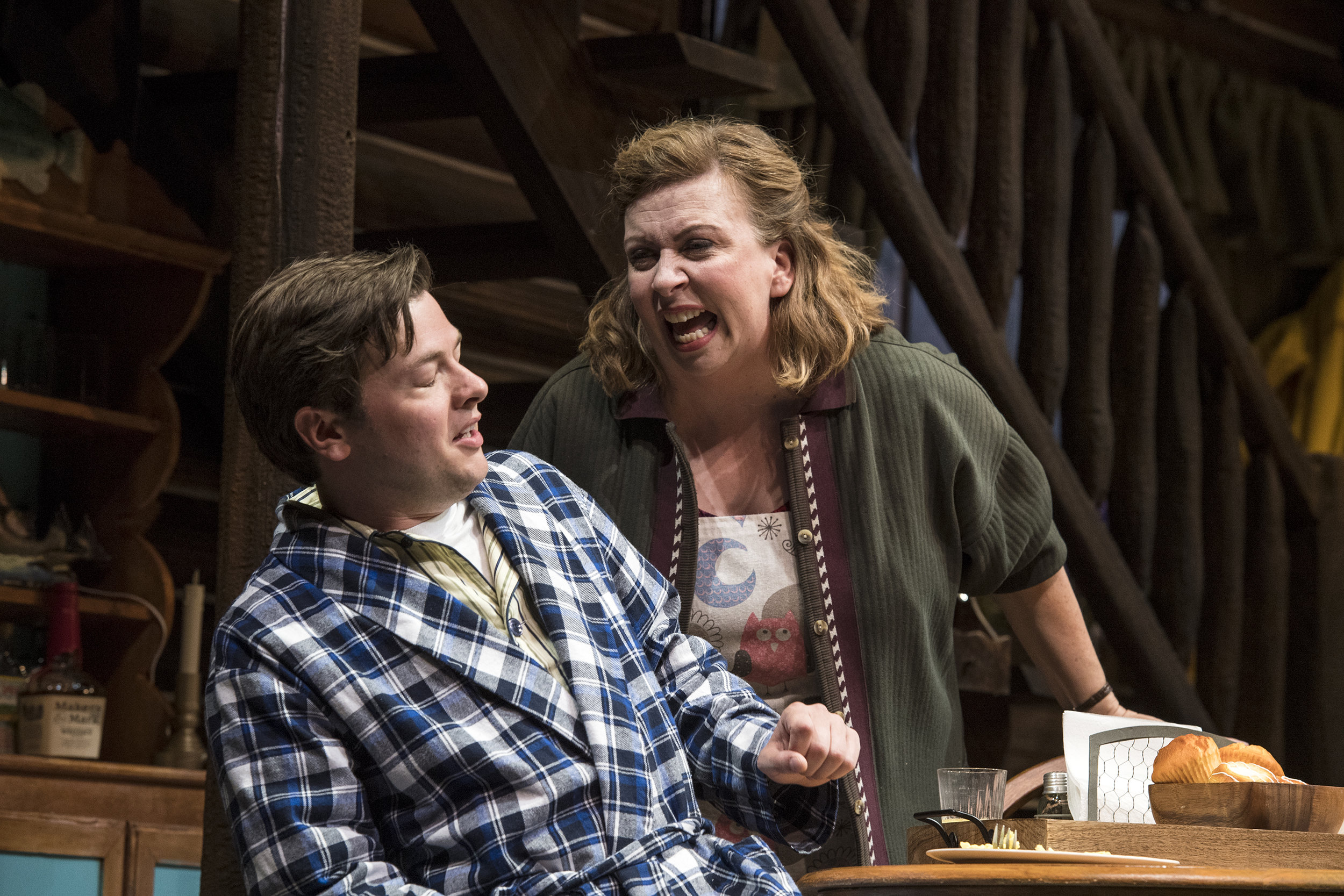 Michael Doherty (left) as Charlie Baker and Colleen Baum as Betty Meeks in the Utah Shakespeare Festival's 2018 production of  The Foreigner.  (Photo by Karl Hugh. Copyright Utah Shakespeare Festival 2018.)
