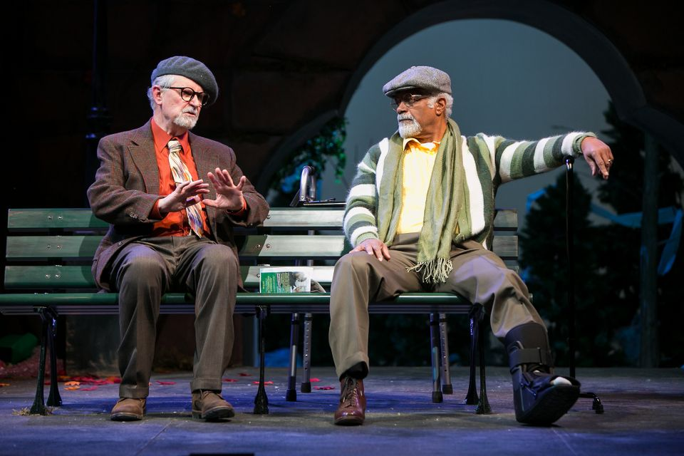 "Actor Fred Grandy as Nat Moyer and Ted Lange as Midge Carter in ""I'm Not  Rappaport"" at Redhouse Arts Center in Syracuse. Photo courtesy of  Genevieve Fridley."