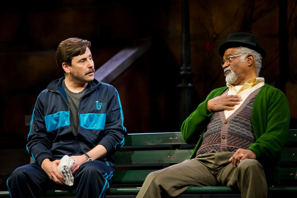 "John Bixler as Danforth (left) and Ted Lange as Building Superintendent  Midge Carter in ""I'm Not Rappaport"" at Redhouse Arts Center in Syracuse.   Photo courtesy of Genevieve Fridley."