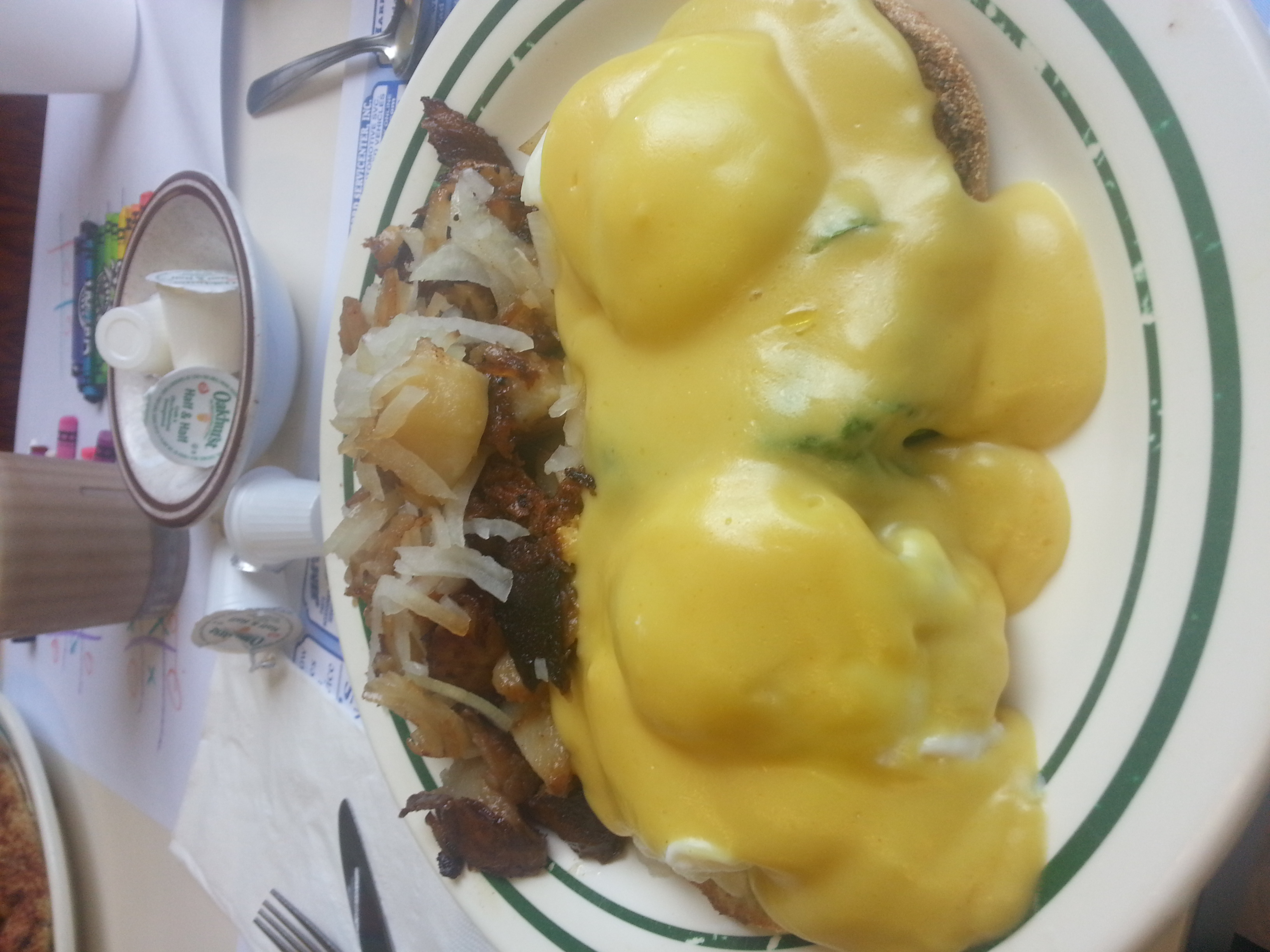 My eggs florentine with breakfast potatoes were scrumptious!