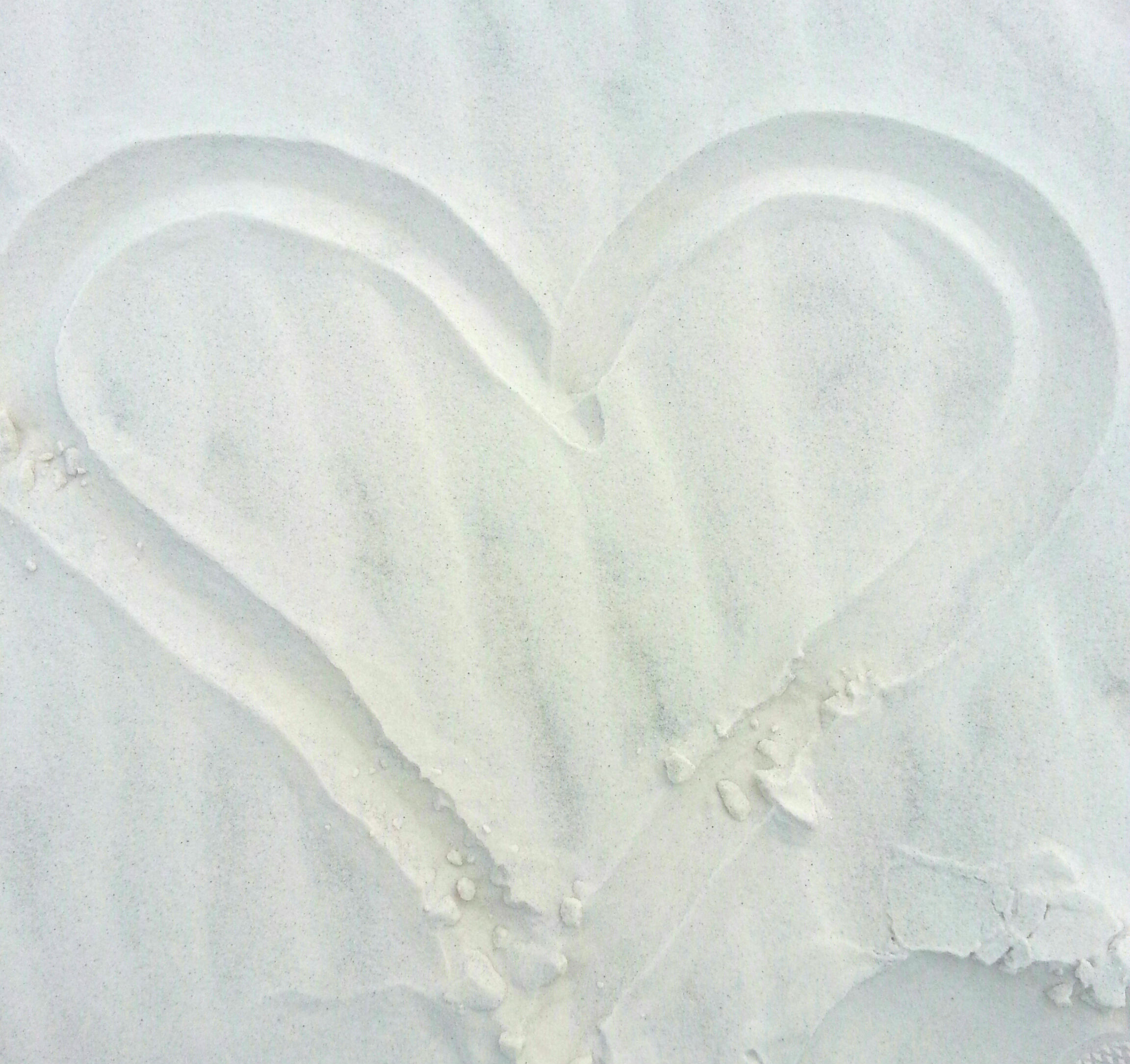 Our Heart in the white sand.