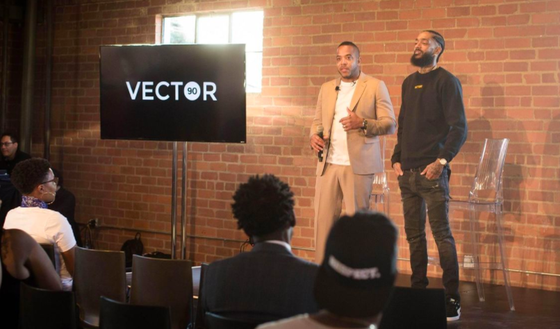 Real estate developer David Gross, left, and rapper Nipsey Hussle at the launch of co-working space and STEM center Vector 90 on Feb. 15, 2017 (Timothy Smith)