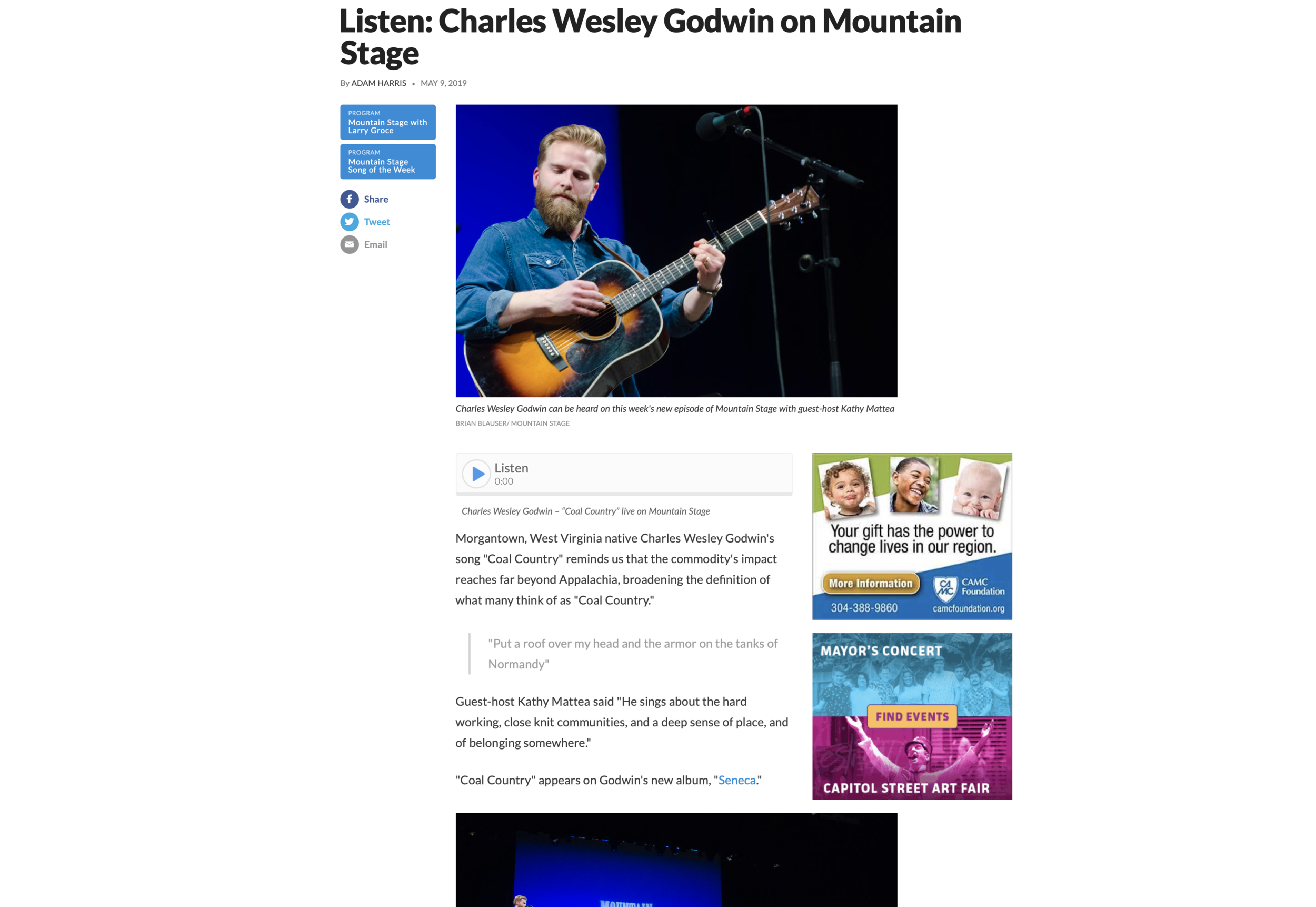 Mountain Stage 'Song of the Week'