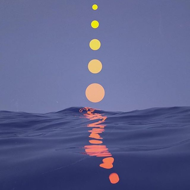 : #orangedot  #orange #dots reflecting #hues over the #sea in line at #dusk or #dawn #rg @fishide_