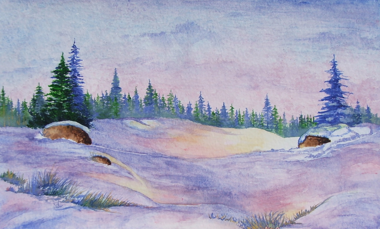 Evergreen Winter , watercolor and gouache, 2003 private collection