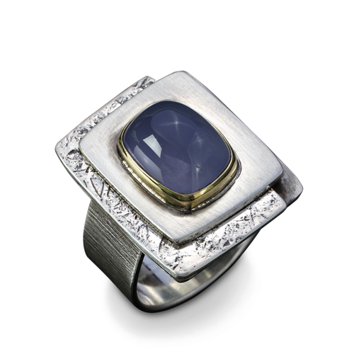 Blue Chalcedony Layered Ring
