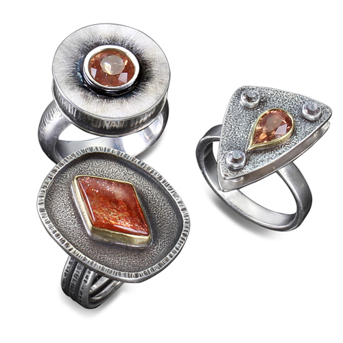 Three Sunstone Rings