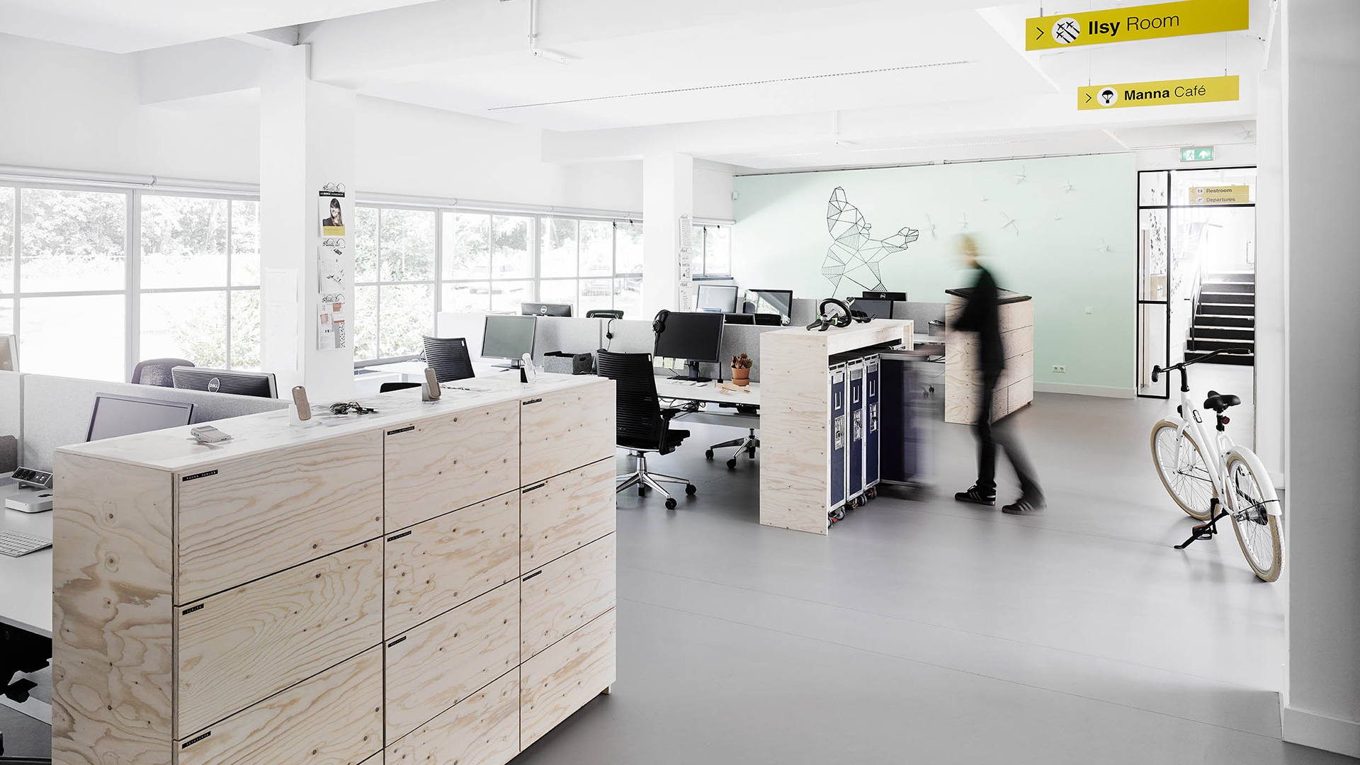 Studio / The aviation theme is visible in the details: striking yellow signage and re-used food trolleys to store brainstorm tools (KLM is one of VanBerlo's clients).