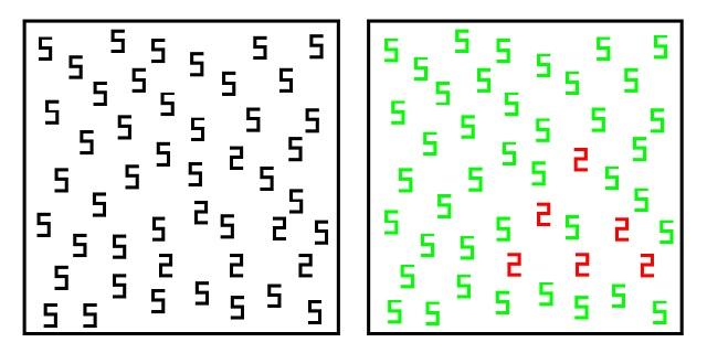 A synesthete might perceive the left panel like the panel on the right. C.C. Image: Edward M. Hubbard on Wikipedia Commons.