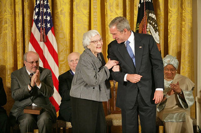 Harper Lee with President George W. Bush. Public domain image: Wikimedia Commons.