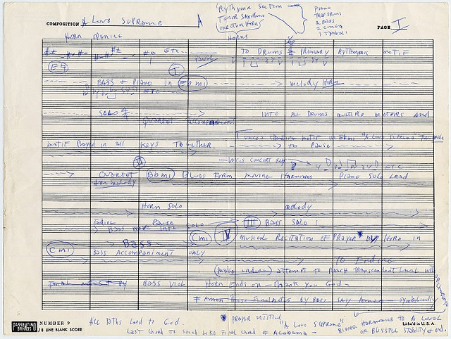 "The notation for ""A Love Supreme"". Public domain image: Wikimedia Commons."