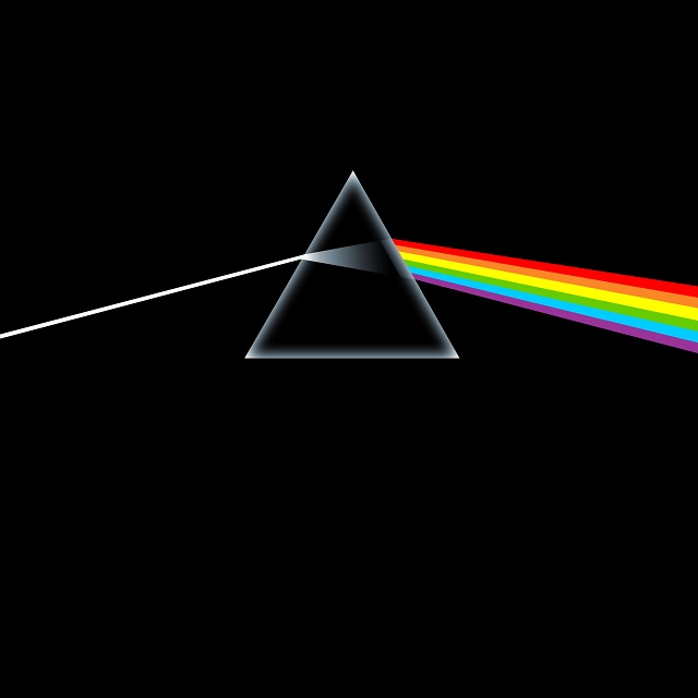 Pink Floyd's  Dark Side of the Moon  (1973) cover, used on the grounds of fair use.