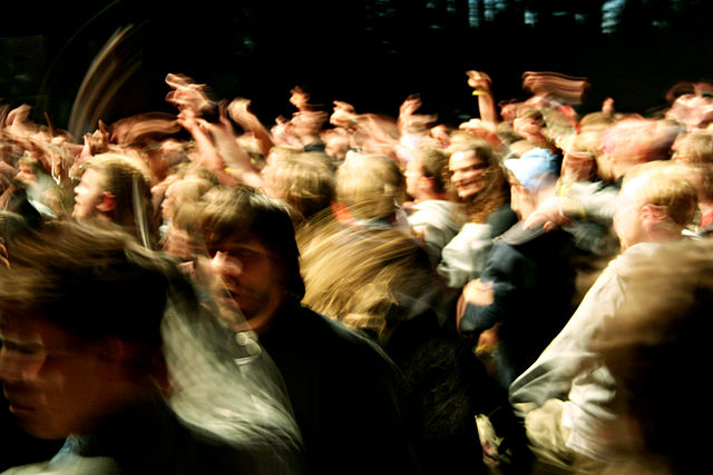 A mosh pit. C.C. Image: Harald S. Klungtveit on Wikimedia Commons.