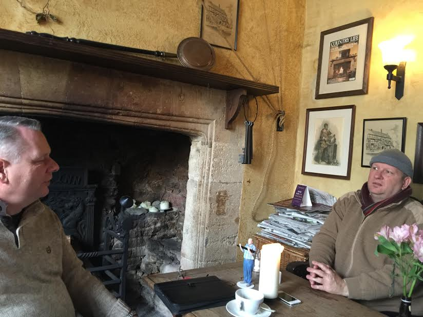 Paul (left) and Jeremy at the 800 year old St George pub in Summerset