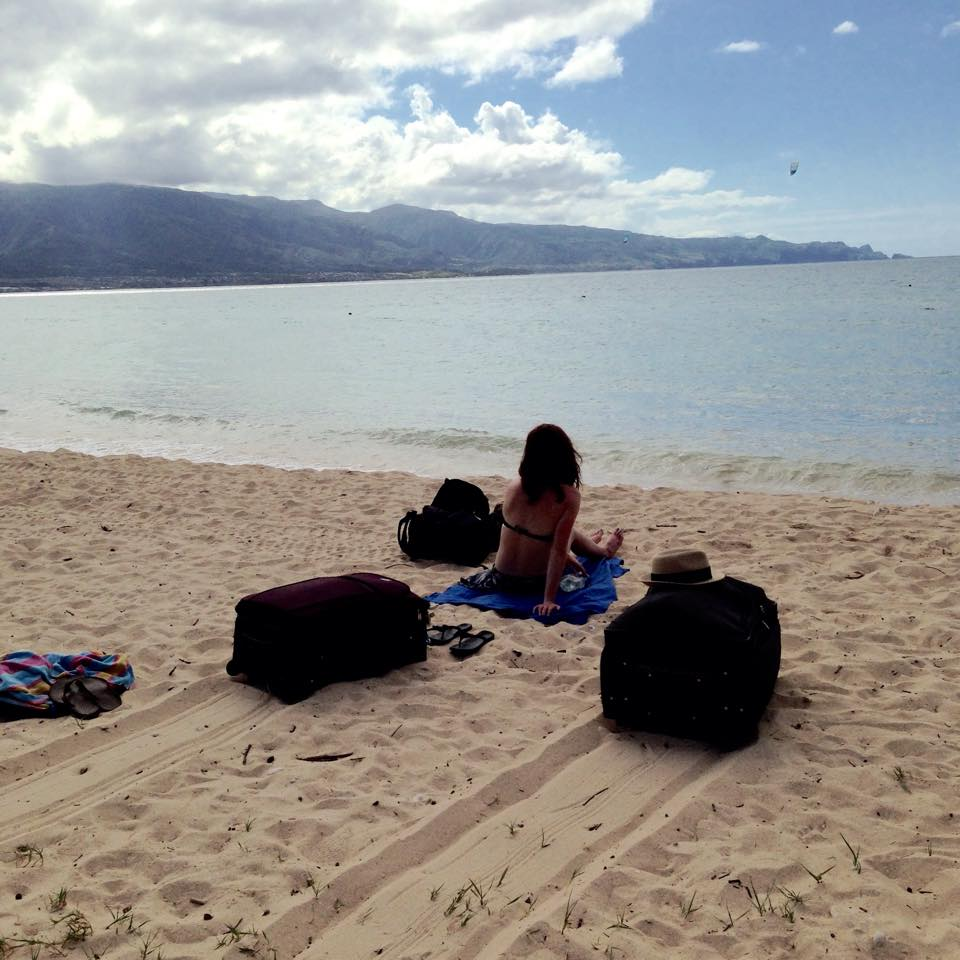 Our suitcases on the beach in Maui, Hawaii. The airport wouldn't take them during a layover, so we have to bring them with us.