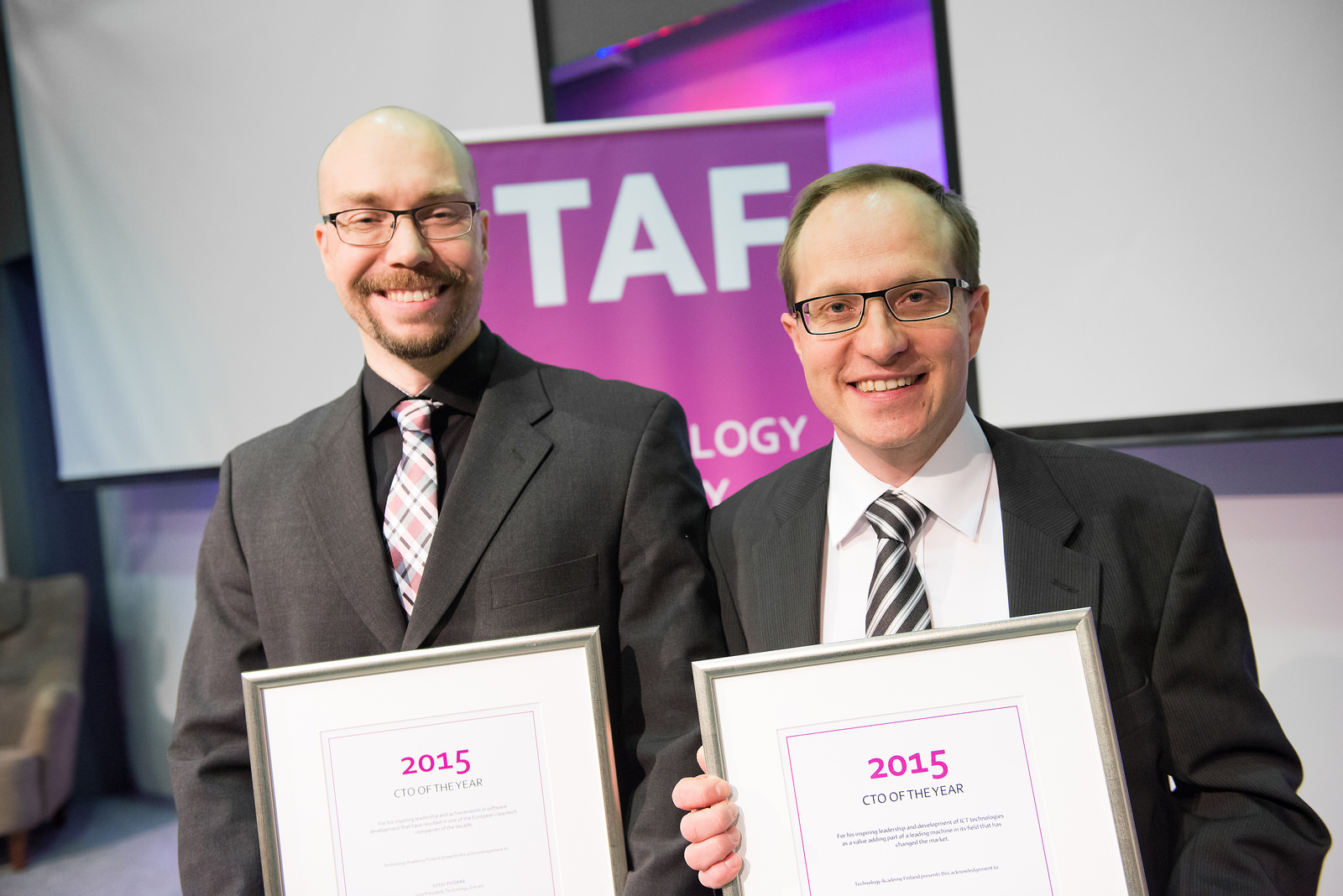 The CTO of the Year 2015 award was given to Jussi Pyörre, Eniram Oy, and Juha Inberg, Ponsse Plc.