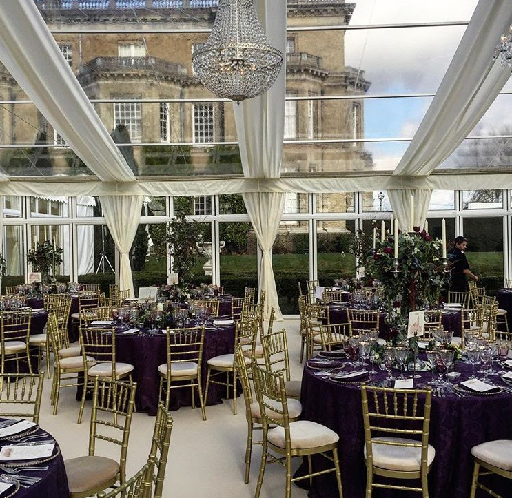 Glass Marquee on the South Lawn at Hedsor House - Wedding by  Cranberry Blue Weddings   Photo Credit -  Caper & Berry Instagram