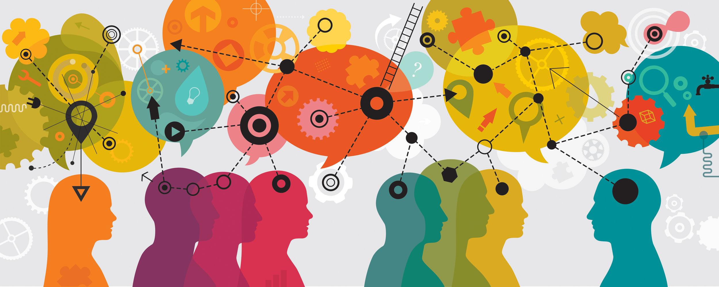 illustration communication, people thinking, connection, public speaking