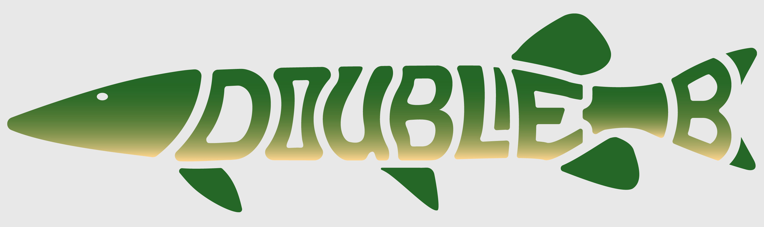 Muskie shaped logo for Double B, a maker of Muskie baits.
