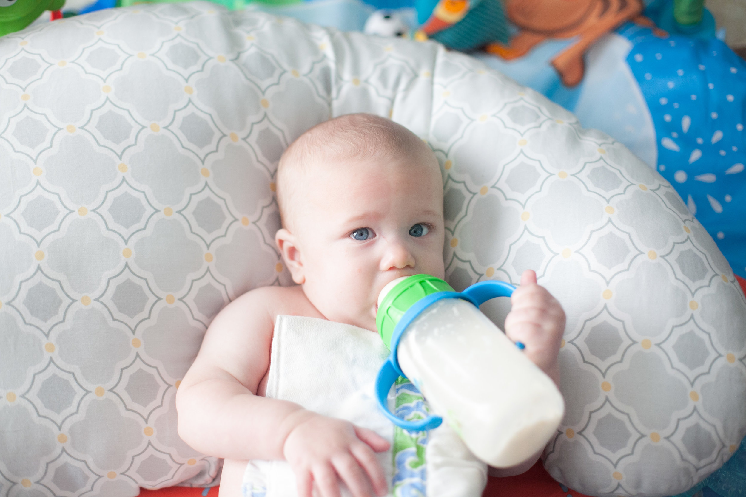 6 month old baby holding a bottle