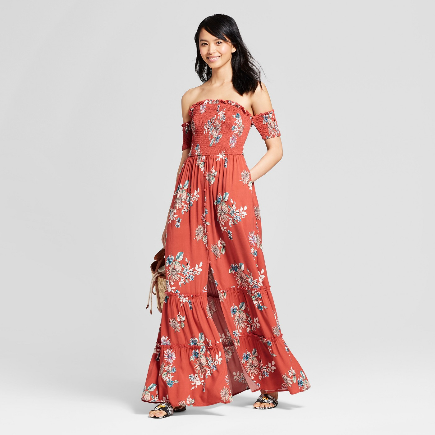 - I love dresses that have extra detail, like it's off shoulder, and ruffle/button detail on the bottom