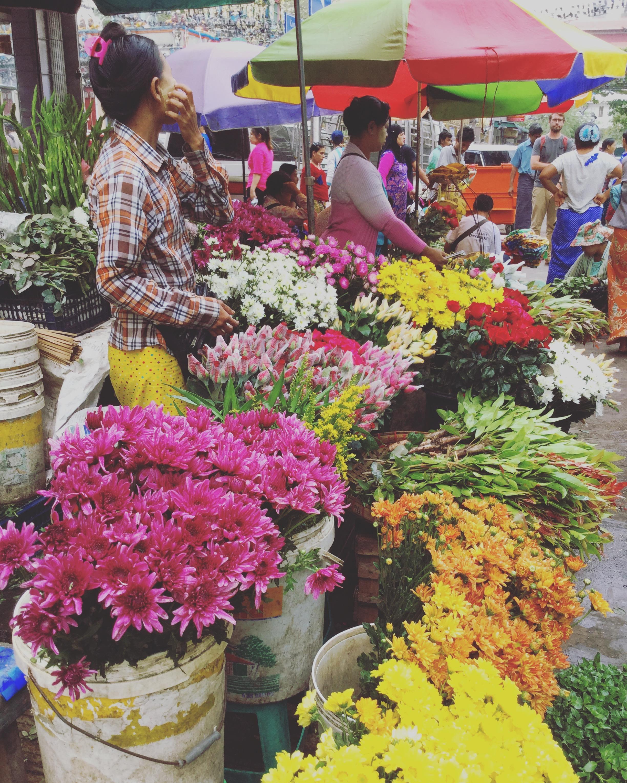 flower market, yangon