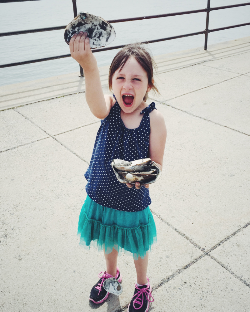 Summer, 2015, finding shells in front of our house.
