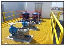 具有双向承载能力的整体成型FRP格栅。高树脂含量提供更高的耐化学腐蚀性和阻燃性。