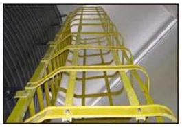 FRP笼式梯子经得起各种环境的恶劣使用。设计提供轻松抓握和防滑抓地力。