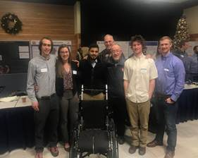 Sawyer Thomas, Anna Verhaeghe, Fahad Ibrahim, Martin Haas, Wayne Hanson, Dr. Scott Monfort    THE ACTIV8R CHAIR : The ROC Staff partnered with Mechanical engineering students from Montana State University to develop this chair as a part of their capstone project. It is a dynamic wheelchair that allows disabled persons to stretch, change position, and transfer from a sitting to a standing position.