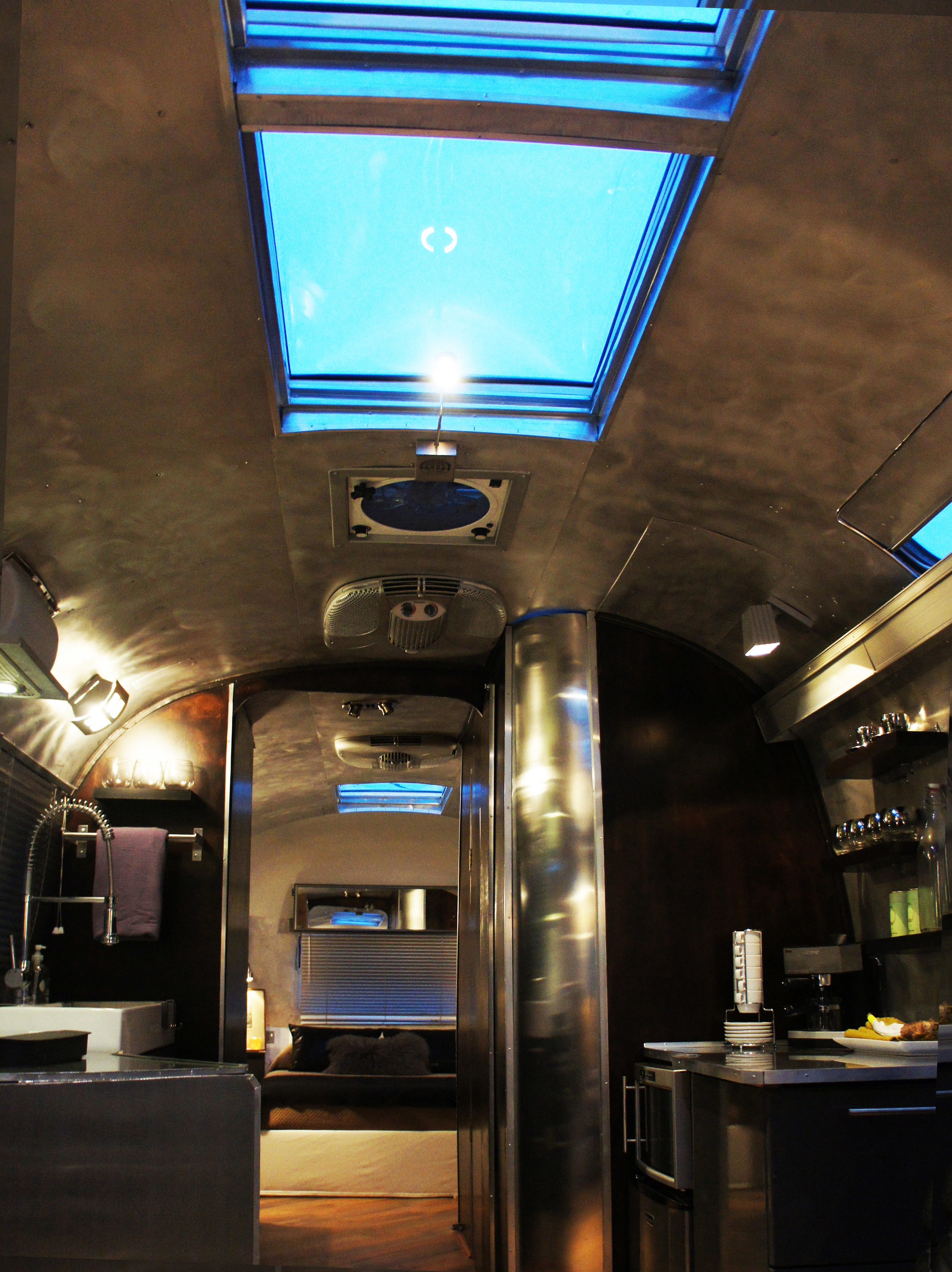 Overhead skylights throughout the airstream give natural light during the day and perfect for star-gazing  at night