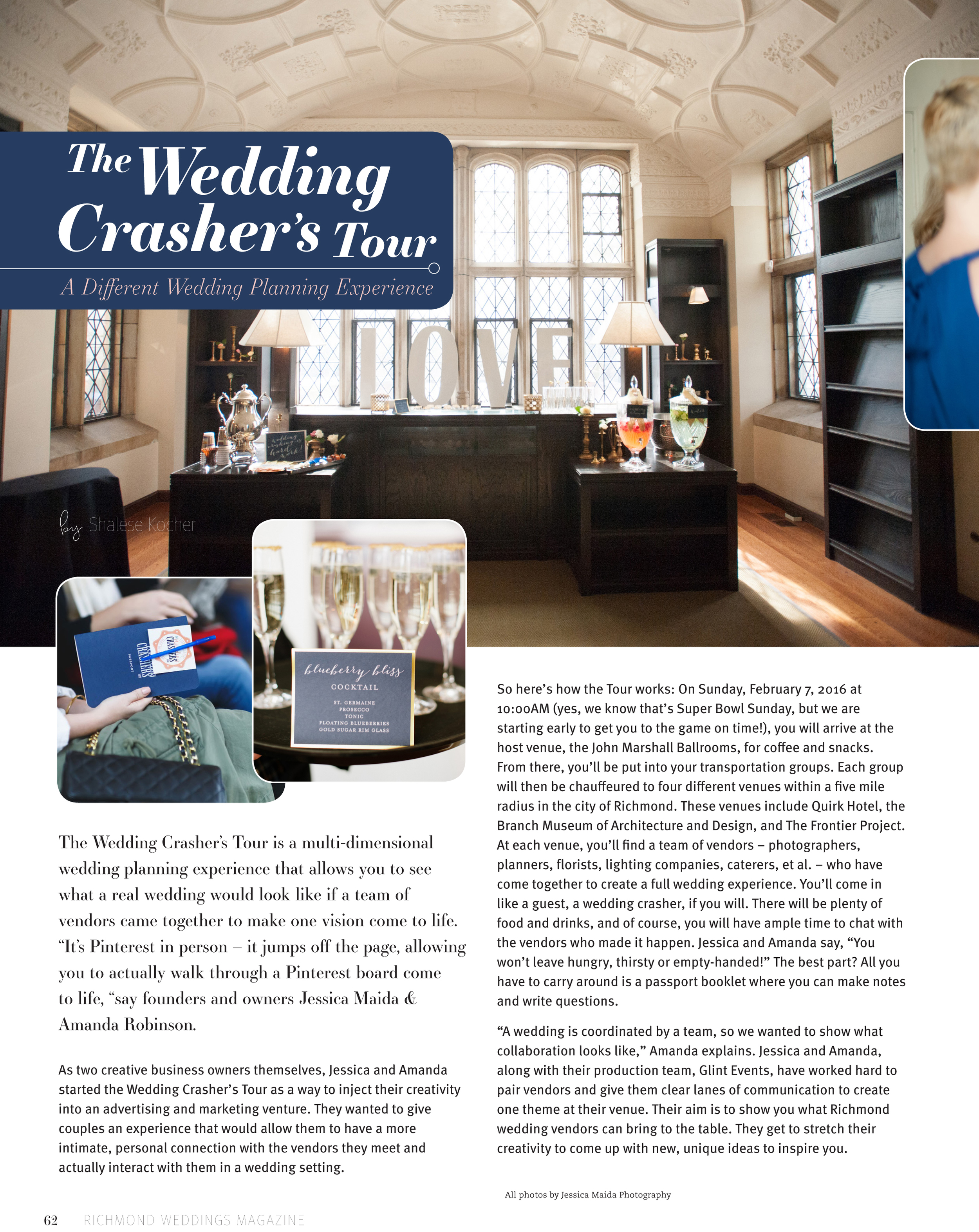 As seen in this Winter's issue of Richmond Weddings Magazine