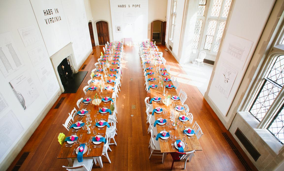 Long rows of Farm Tables: Jessica Maida Photography