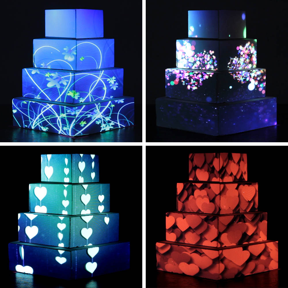 Cake Looks  Projection mapping technology can be used to create animated themed imagery on wedding cakes.