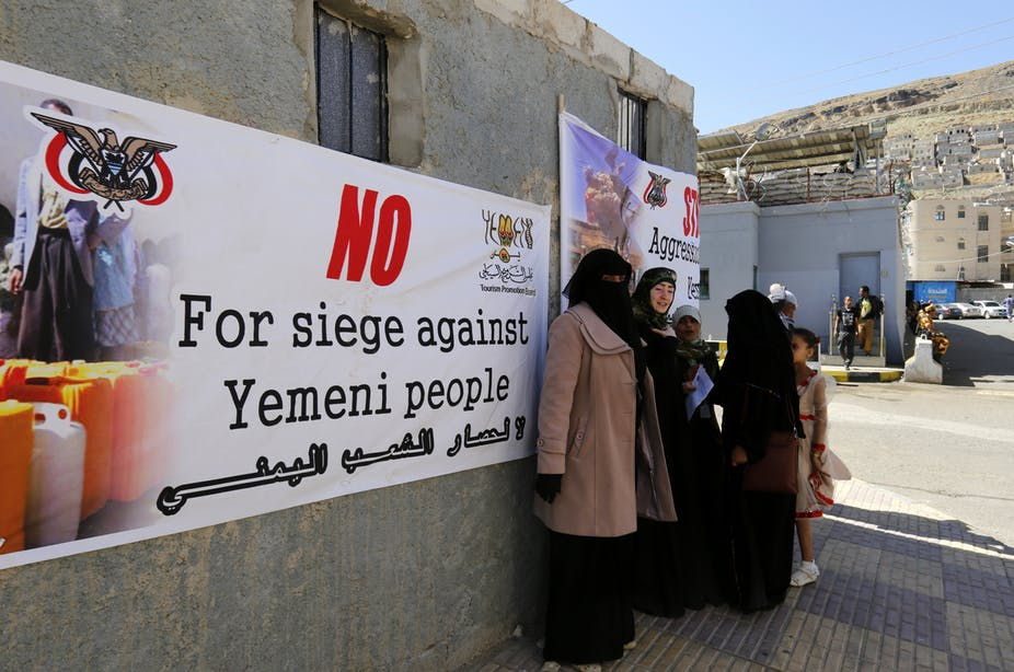 Yemeni women take part in a sit-in and a protest against the ongoing conflict in the Arab country, outside the UN offices in Sana'a, Yemen, 16 March 2017. EPA/YAHYA ARHAB