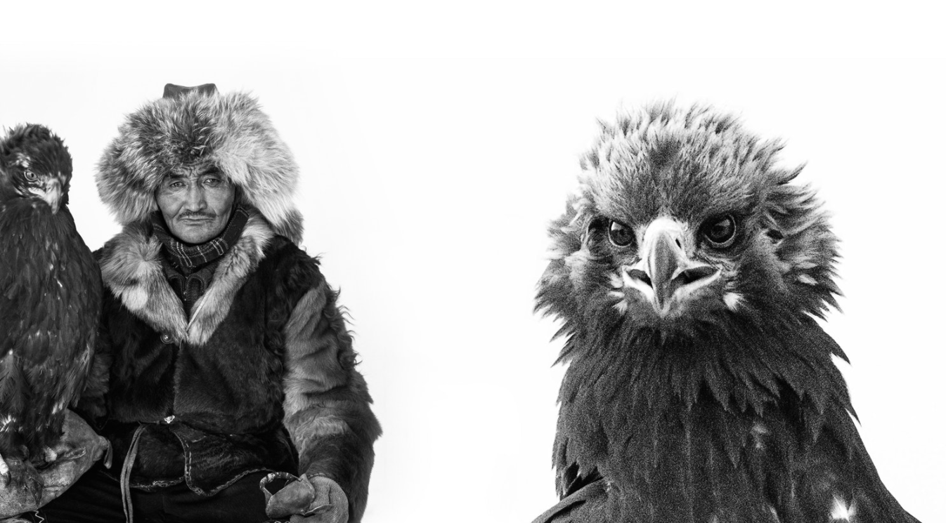 The hunter, Jaidarkhan, an ethnic Kazakh whose ancestors fled to Mongolia, and his eagle.