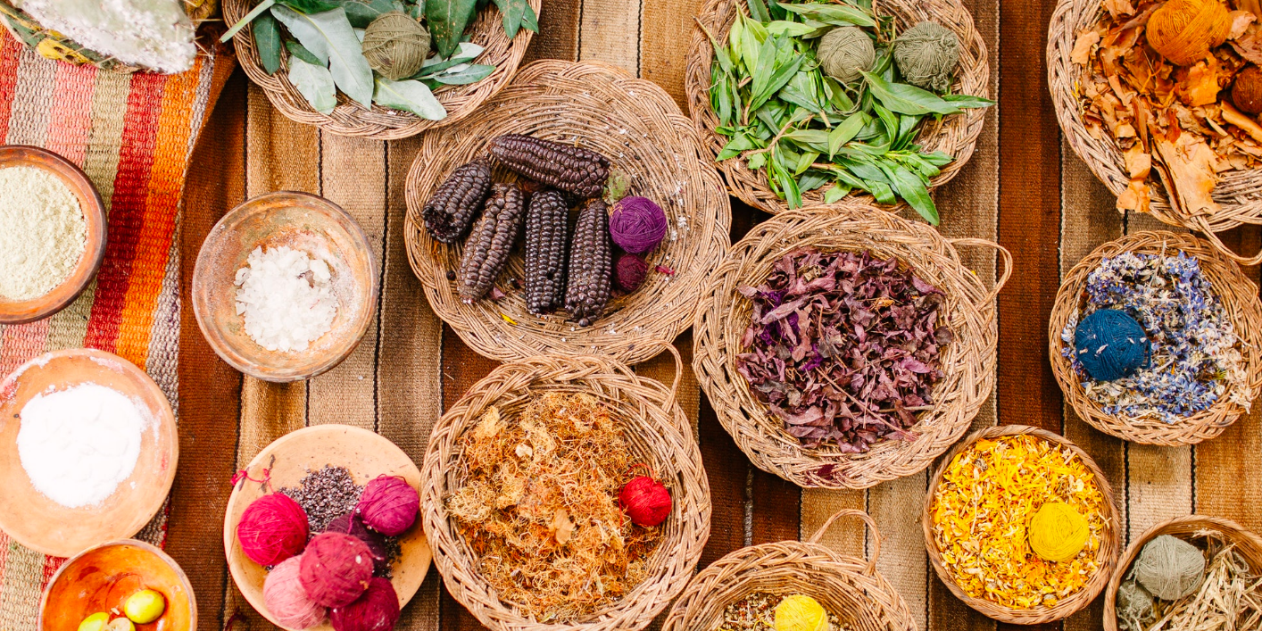 Above: A selection of natural produce such as purple corn, green coca leaves, blue flowers, cochineal, salts and beans, all found growing in the Urubamba Valley and the Andean highlands. They are used by local Quechua communities to create natural dyes for colouring fibre and wool.