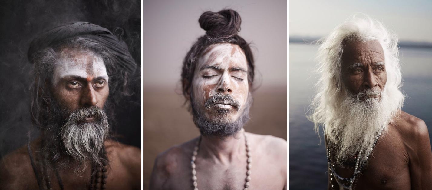 Above:Portraits of Baba Mooni and Shiv Ji Tiwari.