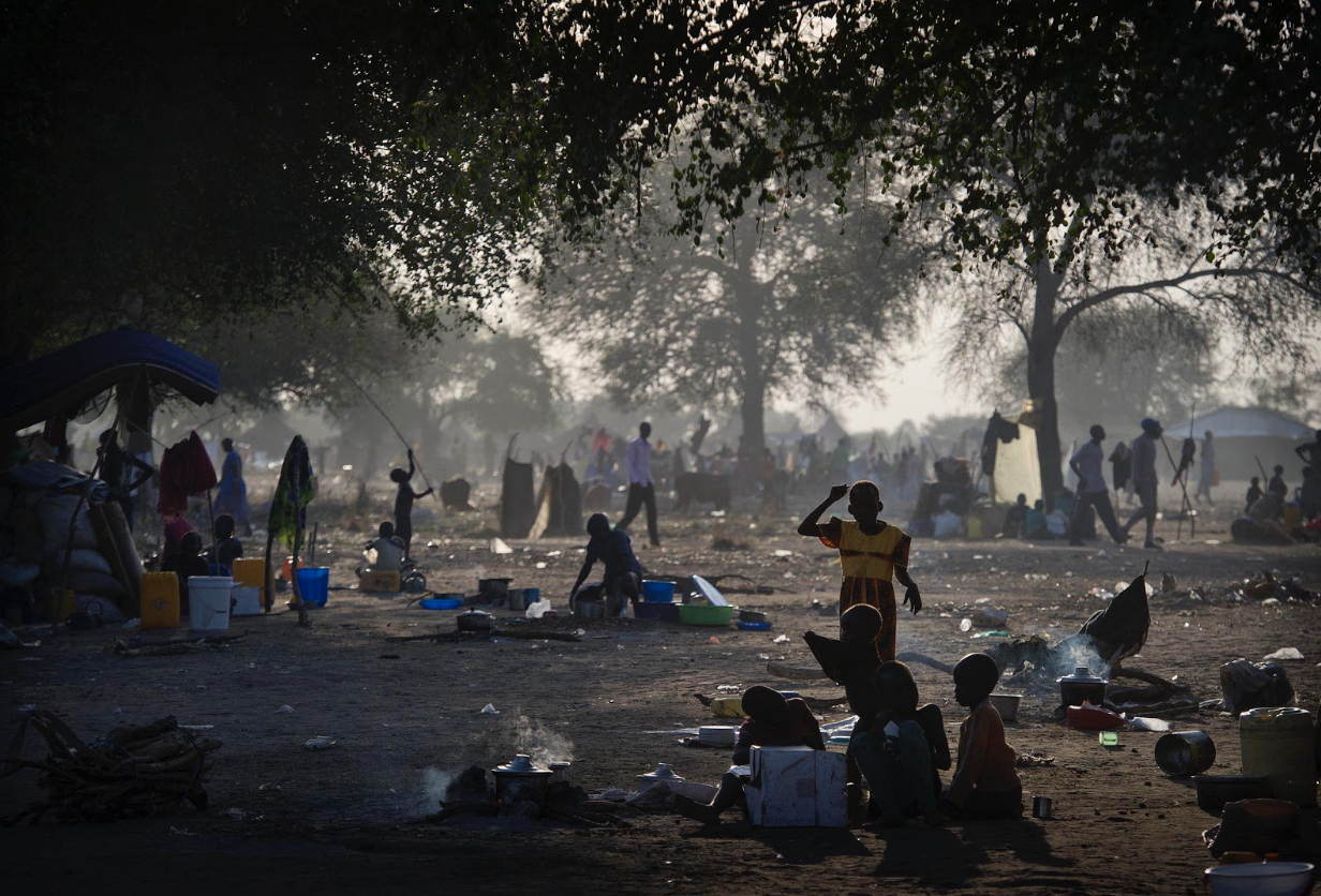 A refugee camp in Minkaman, Awerial County, home to those who have fled due to fighting in Bor. Geoff Pugh 1/13/2014.